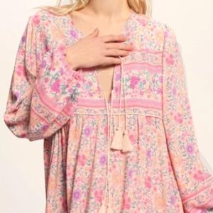 Floral Maxi DRESS Pink Gown NEW